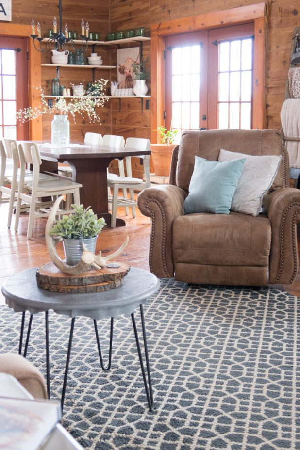 Log Cabin, Log Home, Farmhouse Style, Buffalo Check Curtains, French Blue, Natural Elements, Neutral Colors