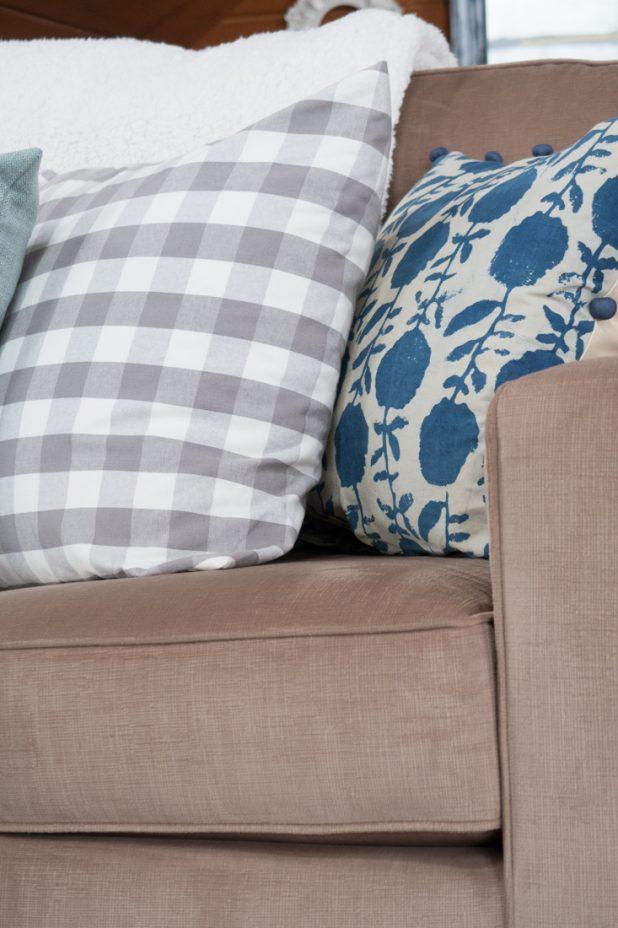 French Blue Pillow, Gray Buffalo Check Pillow