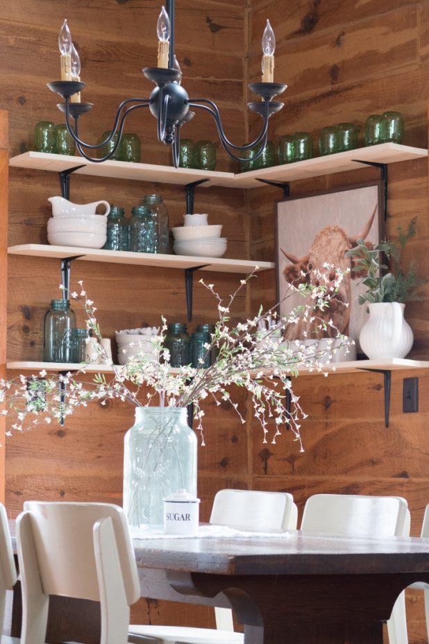 Farmhouse Style Dining Room, Blue Mason Jar, Green Mason Jar, White Dishes, Cow Print, Farmhouse Table