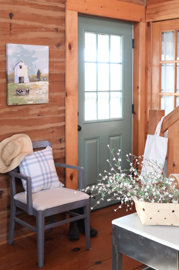 Farmhouse Style Decor, Green Door, French Blue Accents, Barn Print