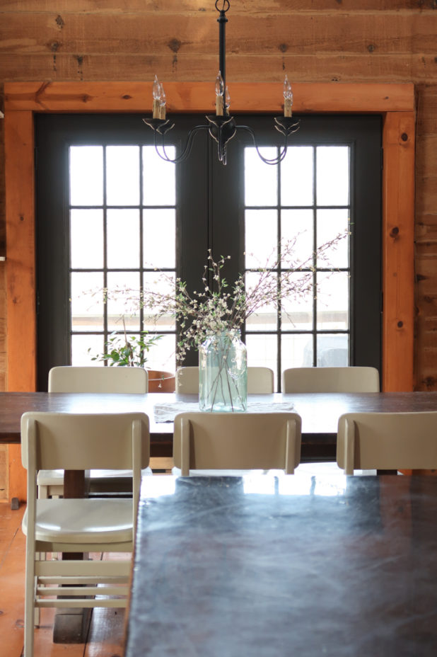 Iron Ore Paint by Sherwin Williams on French Doors in a Log Home