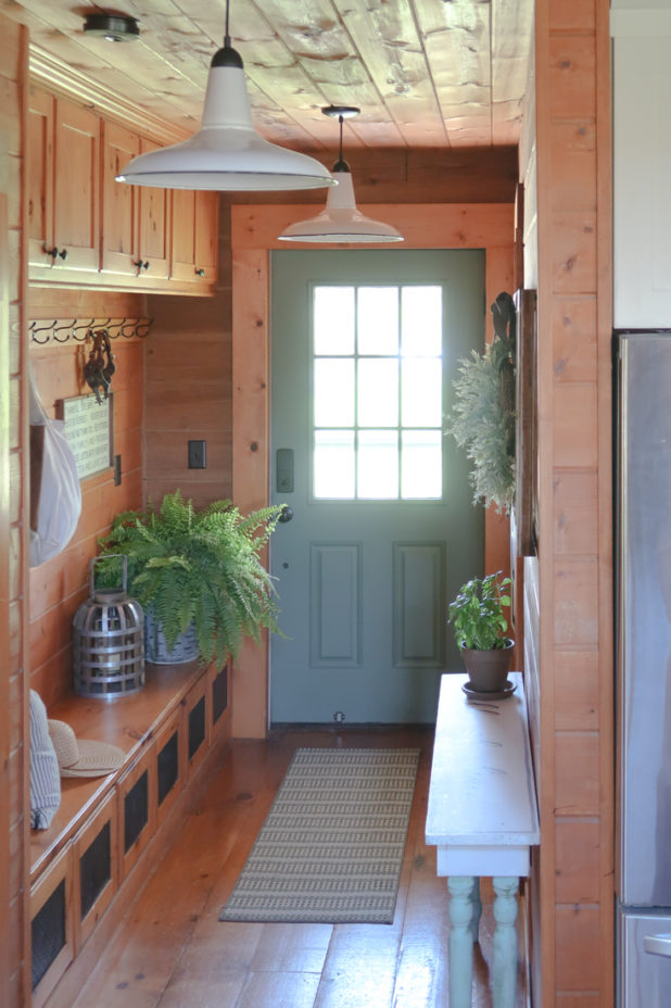Rustic Farmhouse Entry Way, Vintage Farmhouse Light Fixture, Painted Green Door, Bench Storage