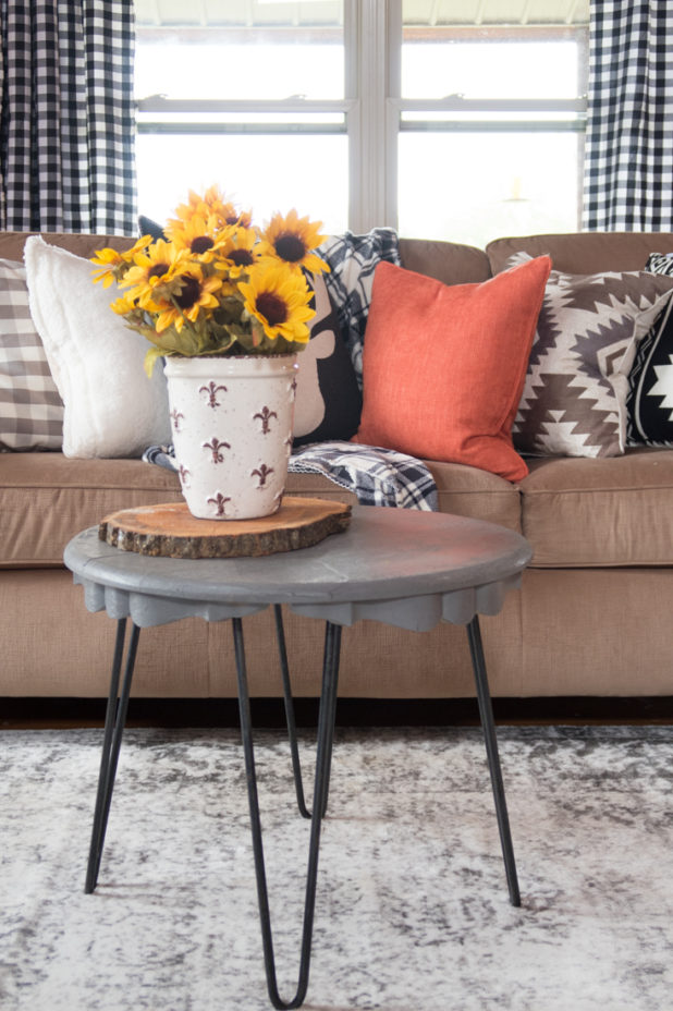 Fall Living Room, Black and White, Mud Cloth, Boho. Sunflowers, Farmhouse Style, Buffalo Check Fabric