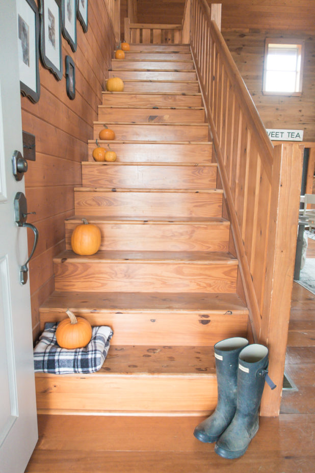 Fall Pumpkin Stairs, Log Home, Hunter Boots, Black and White Framed Photos, Gallery Wall