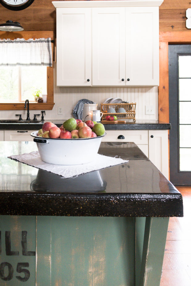Apples, Cabin Kitchen, White Cabinets, Concrete Countertop, Black and White Dishes, Farmhouse Style, Rustic, Log Home