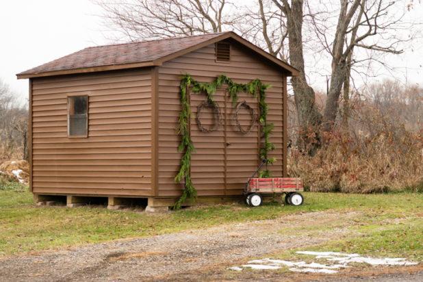 Rustic Winter Christmas Decor, Chicken Coop, Red Wagon, Pine Garland