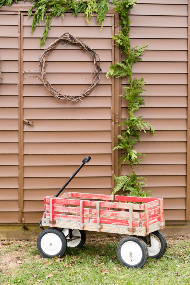 Rustic Winter Christmas Decor, Chicken Coop, Red Wagon, Pine Garland