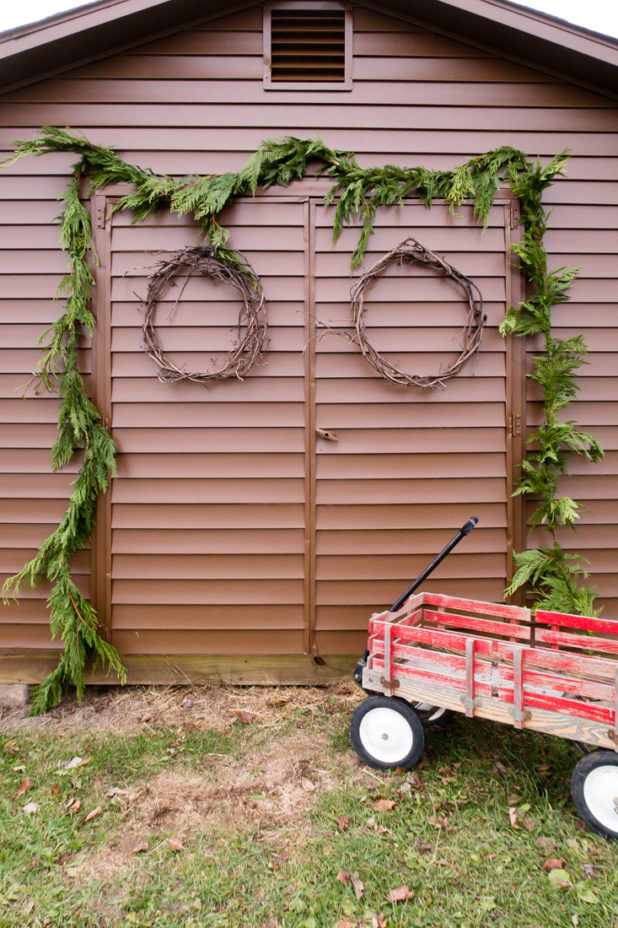 Rustic Winter Christmas Decor, Chicken Coop, Red Wagon