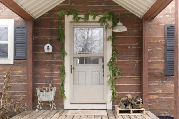 Rustic Log Home Winter Porch Decor, Pinecones, Garland, Fire Wood