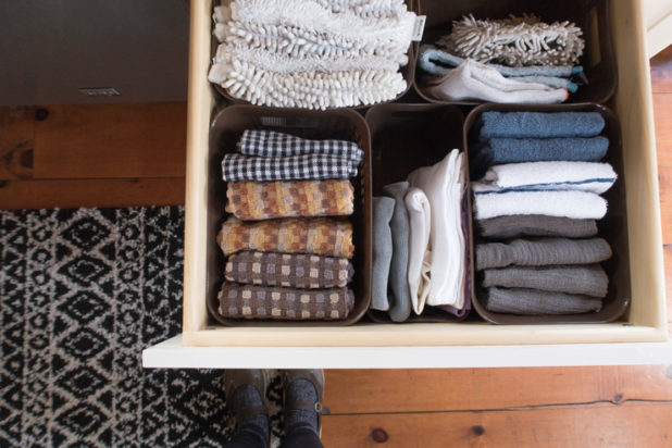How to Organize Dishcloths and Dishtowels with things found at the Dollar Tree. Cupboard and Cabinet Organization. Inexpensive Organizational tips. How to Organize Drawers