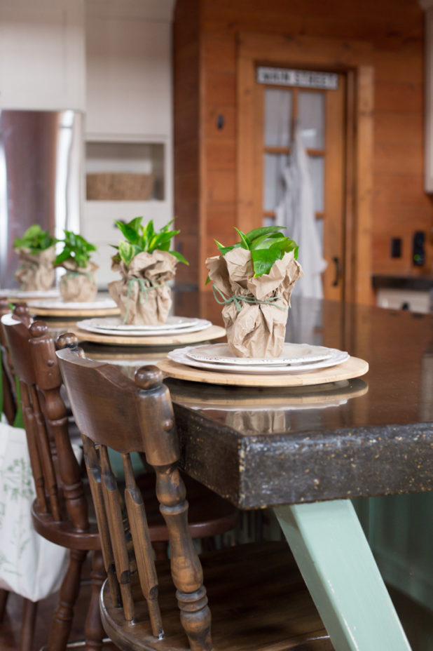 Paper Bag Vase, Rustic Log Home Kitchen, Potted Plant Place Setting, Concrete Countertops, White Kitchen Cabinets, Log Home, Farmhouse