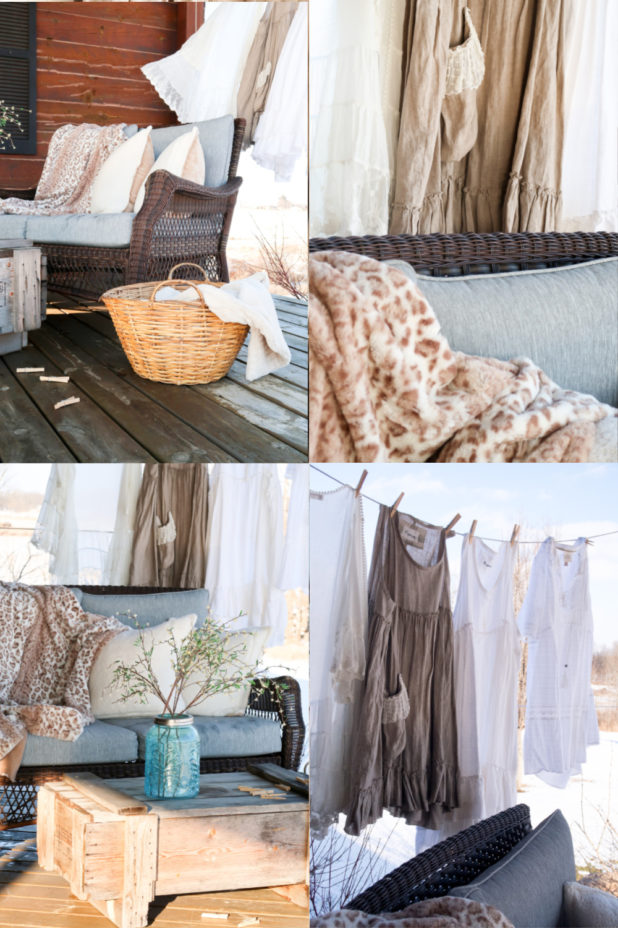 Early Spring Porch, Linen Dresses, Linen Petticoat, Linen Duster, Mason Jar, Faux Blossoms, Neutral Decor, Line Drying Clothes