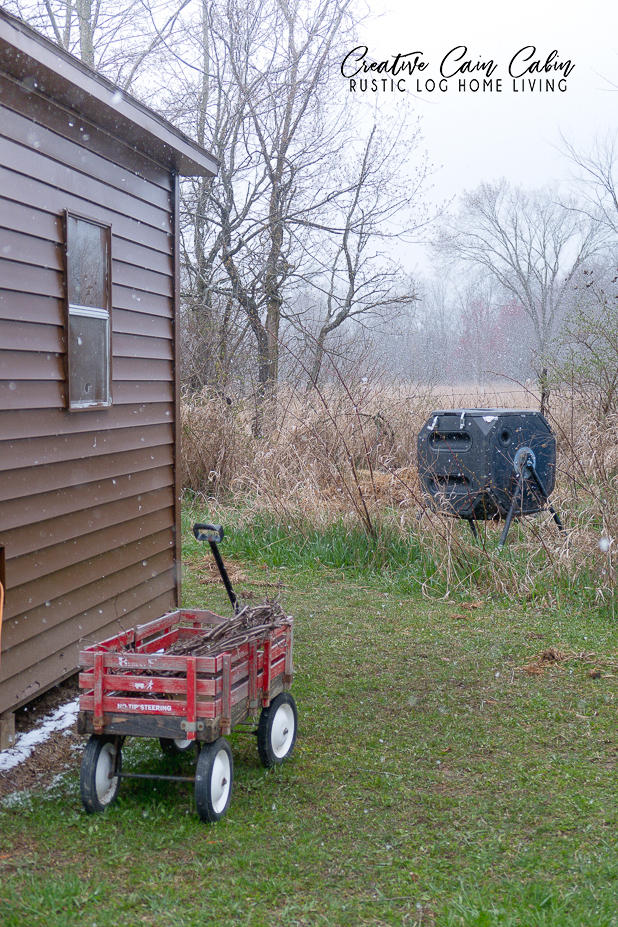 Compost Bin, Chicken Coop, Painted Vinyl Siding, Vintage Red Wagon