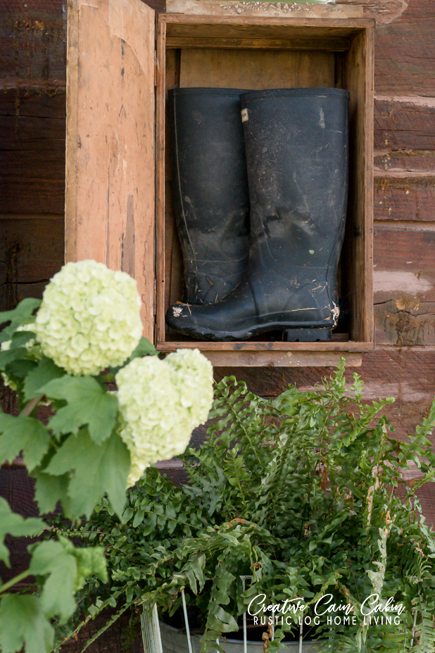 Rustic Boot Storage, Wellie Storage, Hunter Boot, Log Home, Hidden Boot Storage Rack