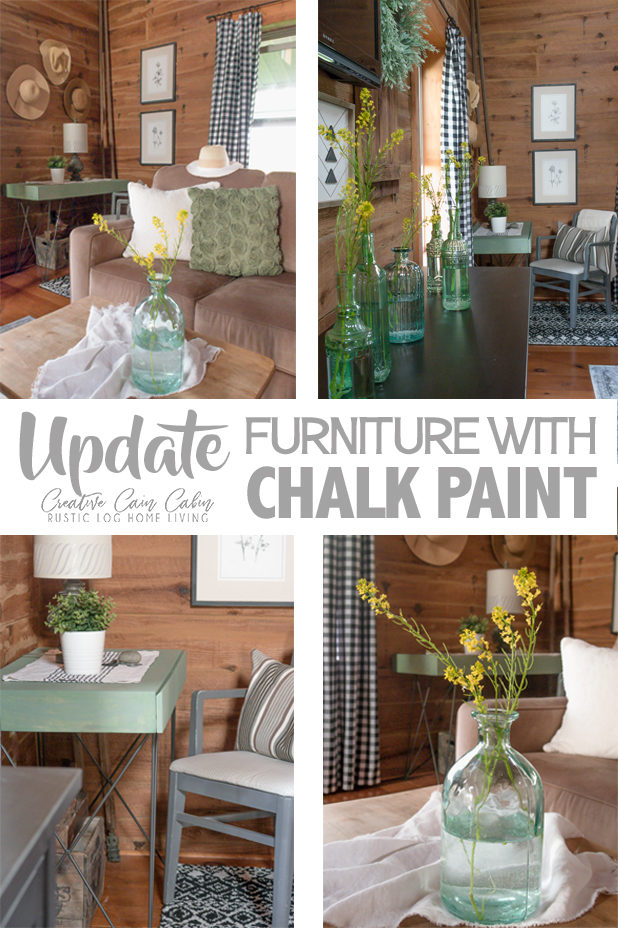 Update Furniture With Chalk Paint, Moss Green Painted Desk, Farmhouse Style, Black and White Buffalo Check, Cottage Style, Log Home, Decor Ideas, Office and Living Room Combo