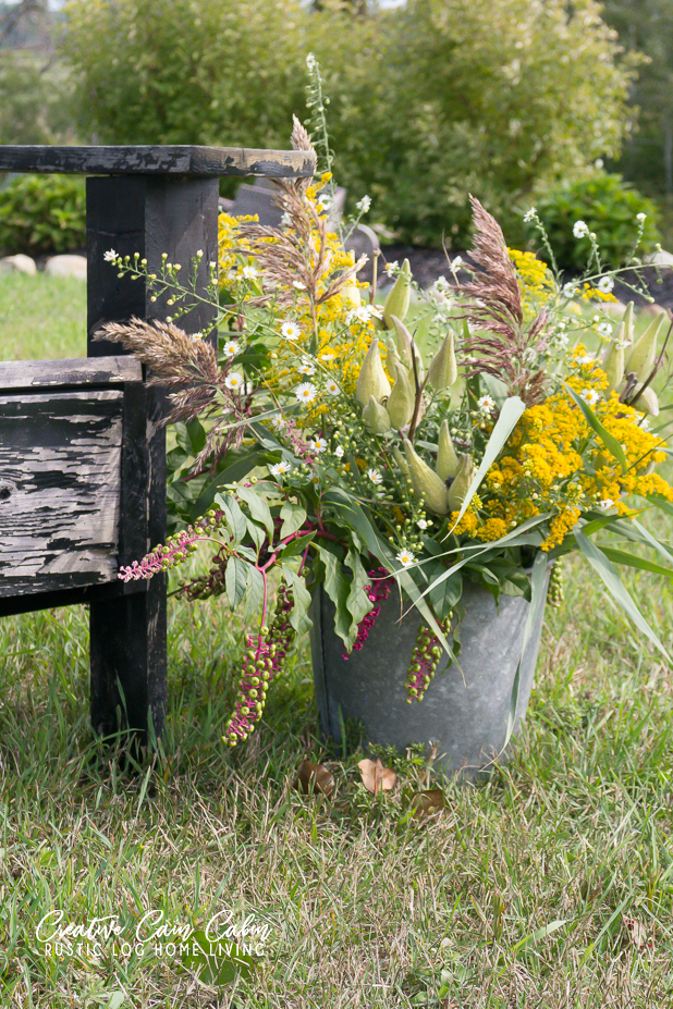 Foraging, Wildflower Bouquet, Galvanized Bucket, Wildflowers
