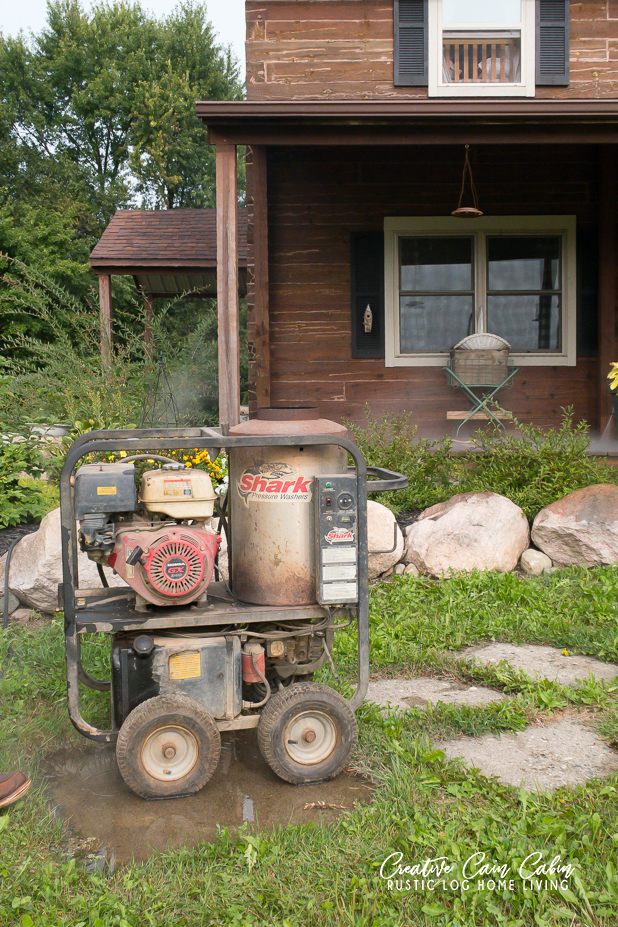 Pressure Washing Decks of a Log Home