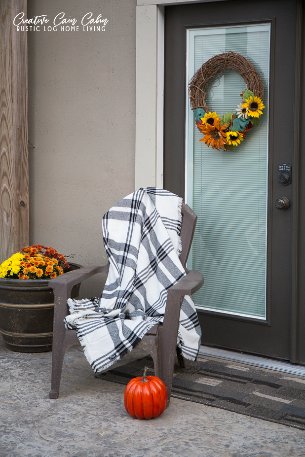 Fall Patio Decor, Painted French Doors, Pumpkins, Sunflowers, Log Home