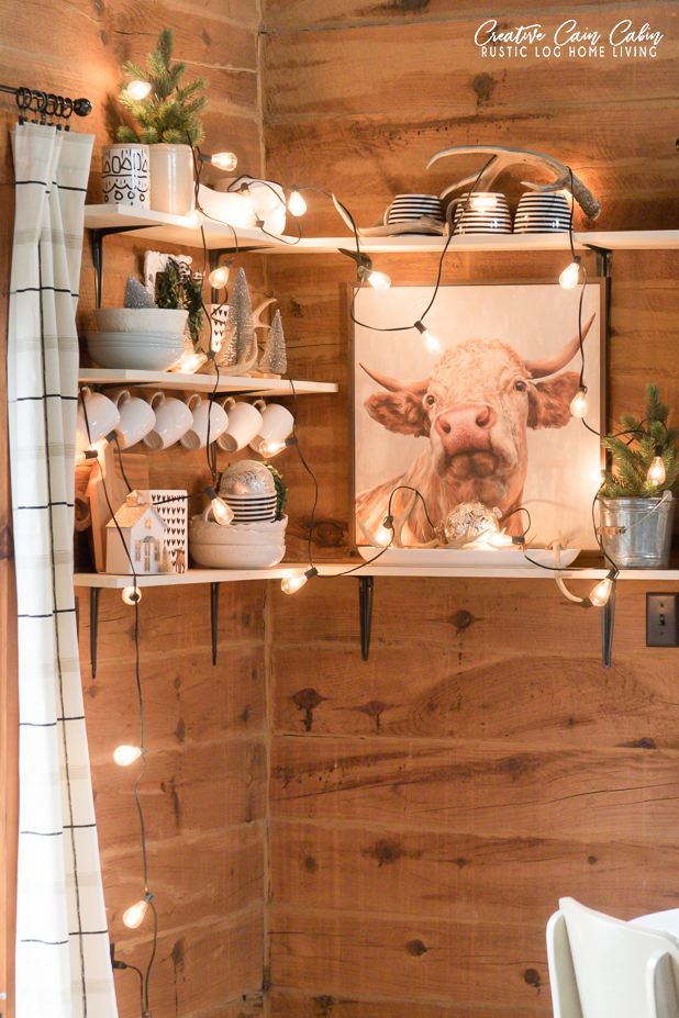 Farmhouse Shelf Decorating For Winter and Christmas, Log Home, Rustic