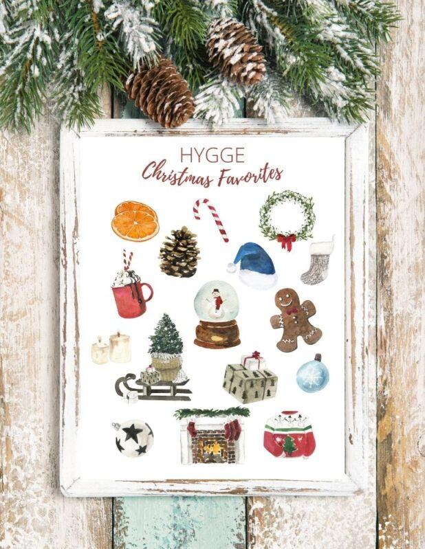 Hygge Christmas Printable, Cozy Christmas Things Printable