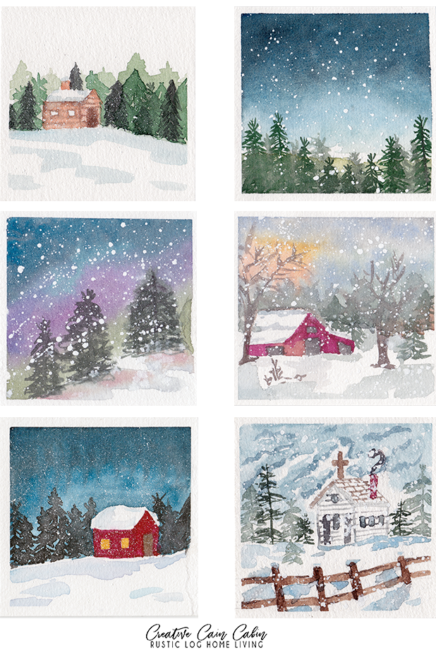Watercolor Bookmarks, Easy, Rustic, Winter Scenes