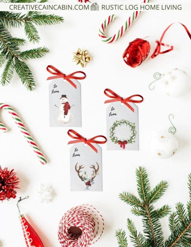 Download and Print Free Rustic Gift Tags, Snowman Watercolor, Deer Antler Watercolor, Wreath Watercolor