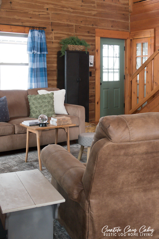 Log Cabin, Log Home, Blue and Green Decor, Neutrals, Painted Green Door, Tablecloth Curtains, Rustic